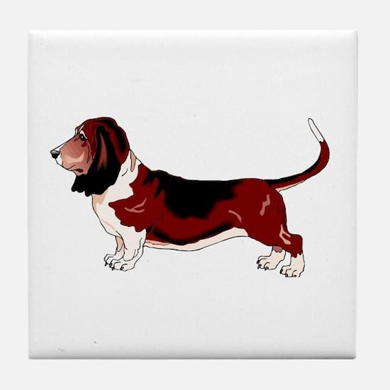 Funny Basset hound Tile Coaster