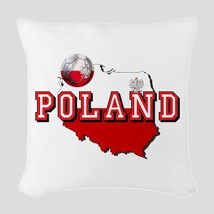 Polish Flag Map Woven Throw Pillow