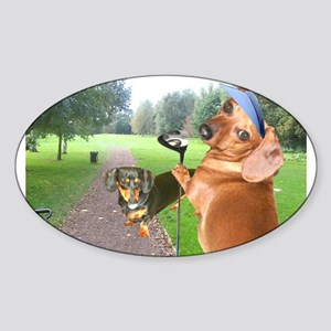 Golf Dogs Oval Sticker