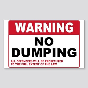 Warning No Dumping Rectangle Sticker