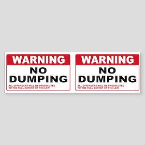 Warning No Dumping Bumper Sticker