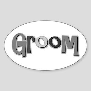 Groom Fiance Wedding Party Oval Sticker