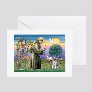 St Francis & Schnauzer (#5) Greeting Cards (Packa