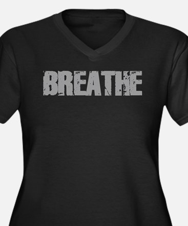 Breathe Women's Plus Size V-Neck Dark T-Shirt