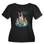 Dogs Out Women's Scoop Neck Dark Plus Size T-S