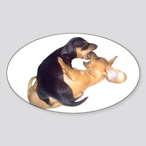 Yin Yang Color Dachshunds Oval Sticker