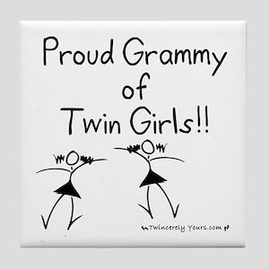 Proud Grammy of Twin Girls STK Tile Coaster