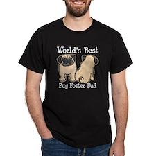 World's Best Pug Foster Dad Dark T-Shirt