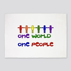 One World One People 5'x7'Area Rug