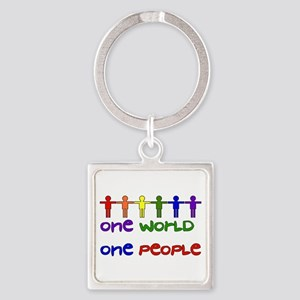 One World One People Square Keychain