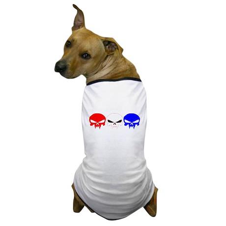 Red, White and Blue Skulls Dog T-Shirt