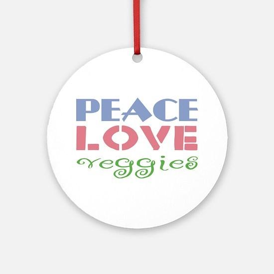Peace Love Veggies Ornament (Round)