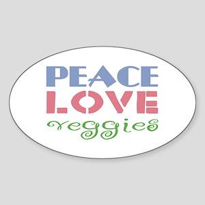 Peace Love Veggies Oval Sticker