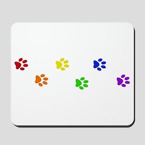 Rainbow paw prints Mousepad