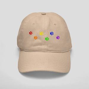 Rainbow paw prints Cap