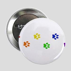 "Rainbow paw prints 2.25"" Button"