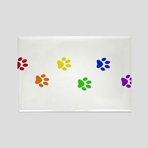 Rainbow paw prints Rectangle Magnet
