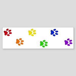 Rainbow paw prints Bumper Sticker