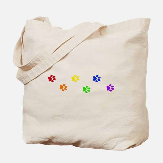Rainbow paw prints Tote Bag