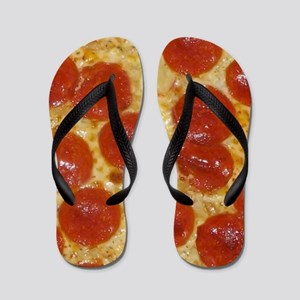 big pepperoni pizza Flip Flops