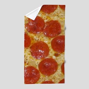 big pepperoni pizza Beach Towel