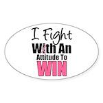 Breast Cancer Attitude Oval Sticker (10 pk)