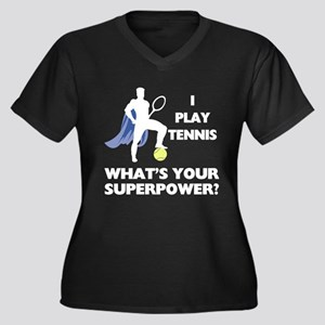 Tennis Super Women's Plus Size V-Neck Dark T-Shirt