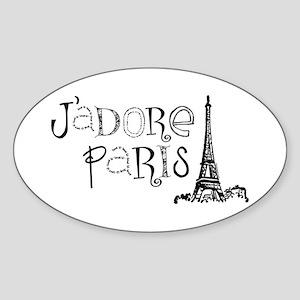J'adore Paris Oval Sticker