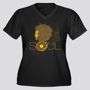 Soul Women's Plus Size V-Neck Dark T-Shirt