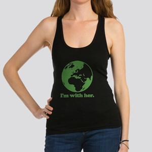 I'm With Her Green Racerback Tank Top