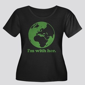 I'm With Women's Plus Size Scoop Neck Dark T-Shirt