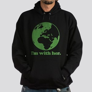 I'm With Her Green Hoodie (dark)