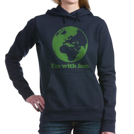 I'm With Her Green Women's Hooded Sweatshirt