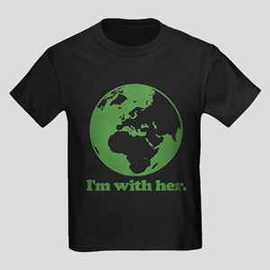 I'm With Her Green Kids Dark T-Shirt