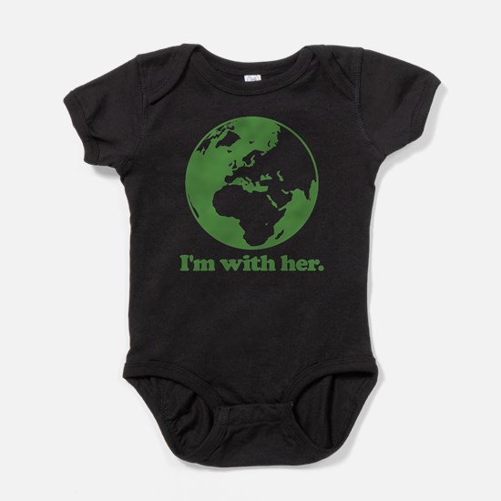 I'm With Her Green Baby Bodysuit
