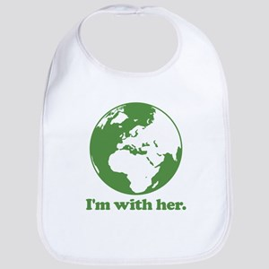 I'm With Her Green Cotton Baby Bib