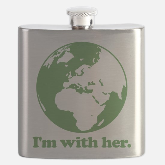 I'm With Her Green Flask