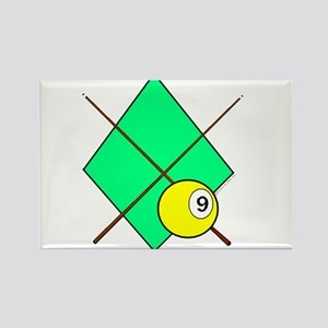 9 Ball Crossed Cues Rectangle Magnet