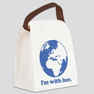 I'm With Her Blue Canvas Lunch Bag