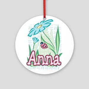 Anna Ladybug Flower Ornament (Round)