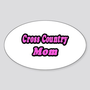 """""""Cross Country Mom (Pink)"""" Oval Sticker"""