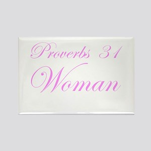 Pink Proverbs 31 Woman Rectangle Magnet