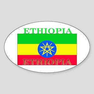 Ethiopia Ethiopian Flag Oval Sticker