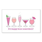happy hour Rectangle Sticker 10 pk)