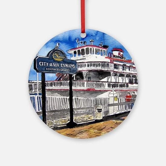 savannah queen river boat Geo Ornament (Round)