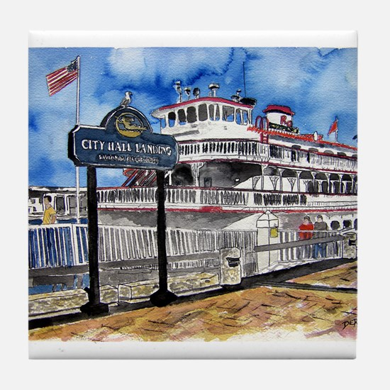 savannah queen river boat Geo Tile Coaster