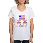 Let's Make A Change Women's V-Neck T-Shirt