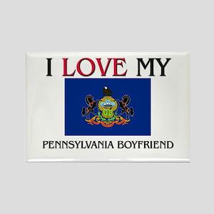 I Love My Pennsylvania Boyfriend Rectangle Magnet