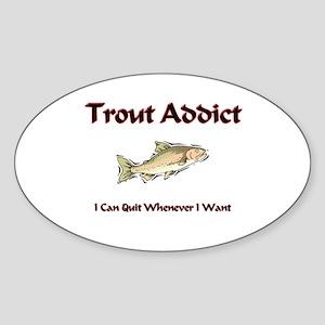 Trout Addict Oval Sticker