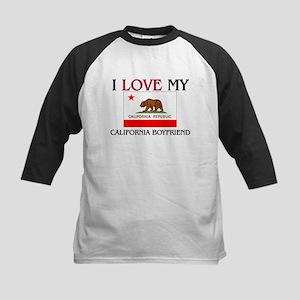 I Love My California Boyfriend Kids Baseball Jerse